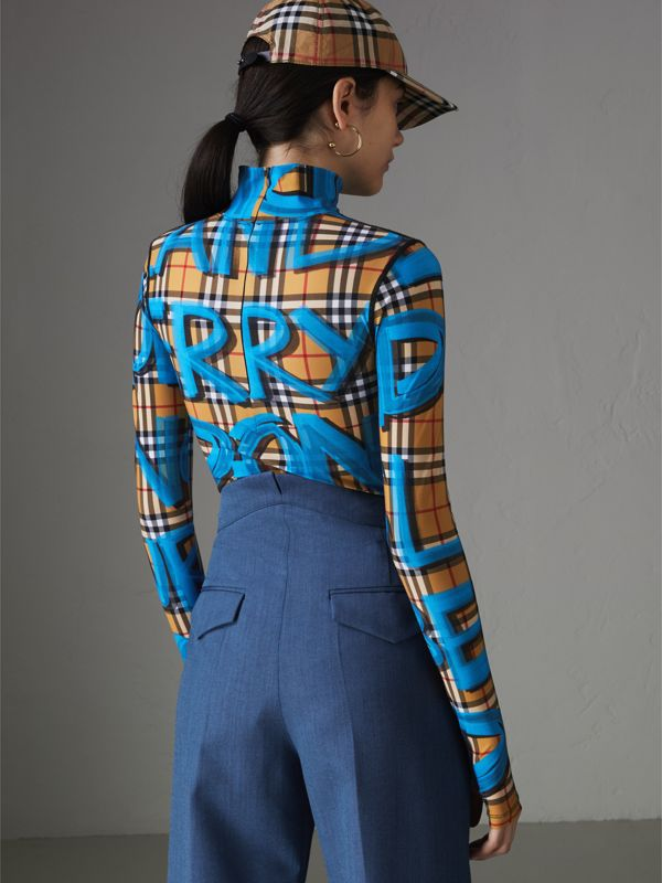 Graffiti Vintage Check Jersey Turtleneck Bodysuit in Bright Blue - Women | Burberry - cell image 2