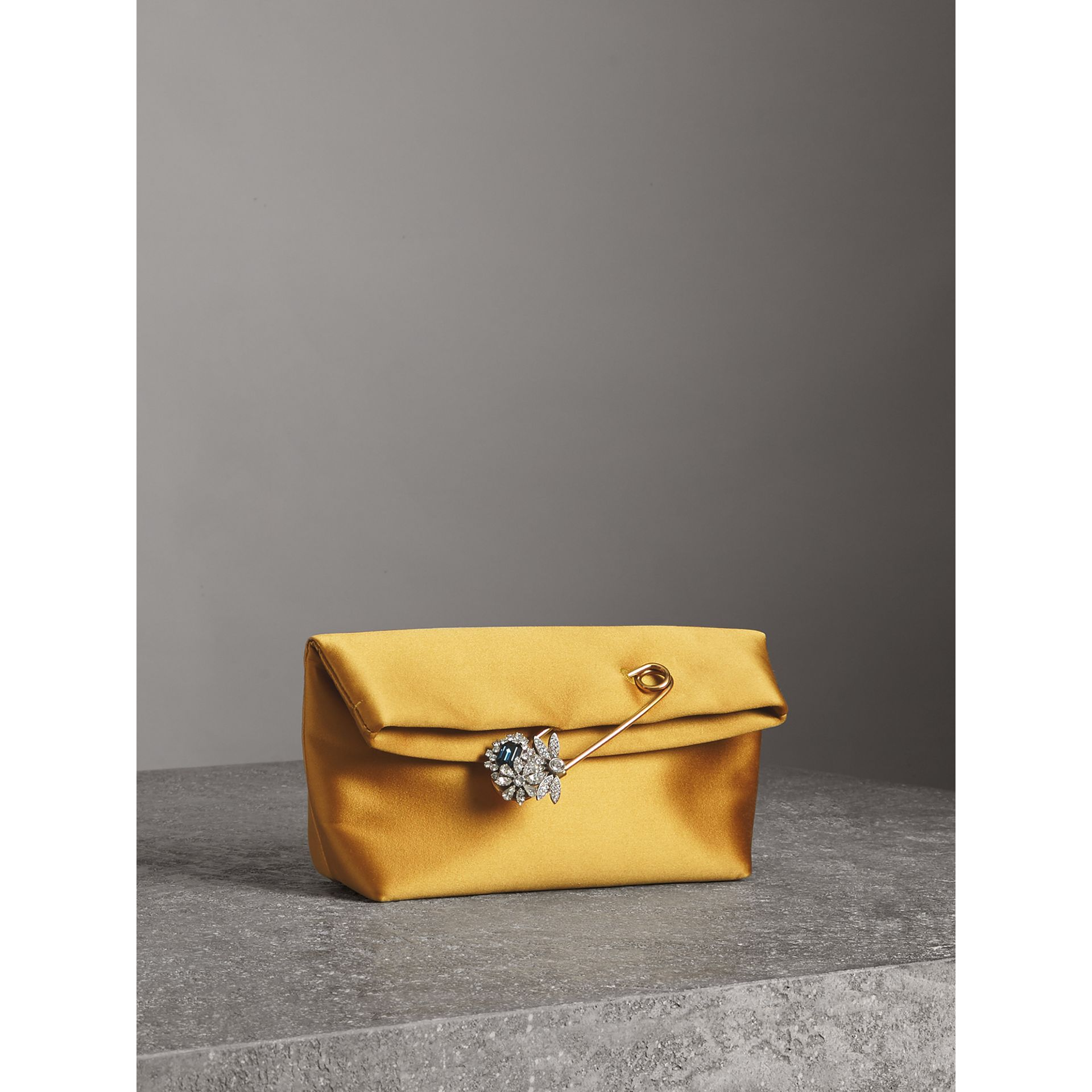 The Small Pin Clutch in Satin in Amber Yellow - Women | Burberry Singapore - gallery image 4
