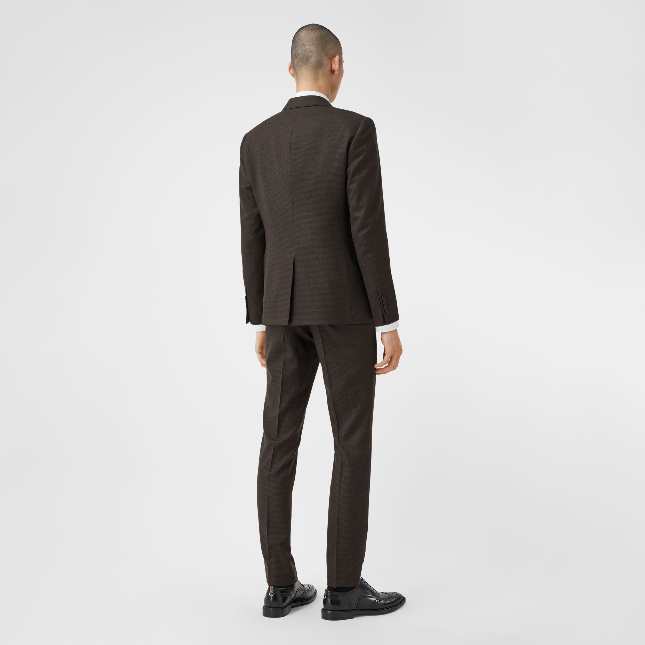 Slim Fit Puppytooth Check Wool Suit in Dark Brown - Men | Burberry Australia - 3