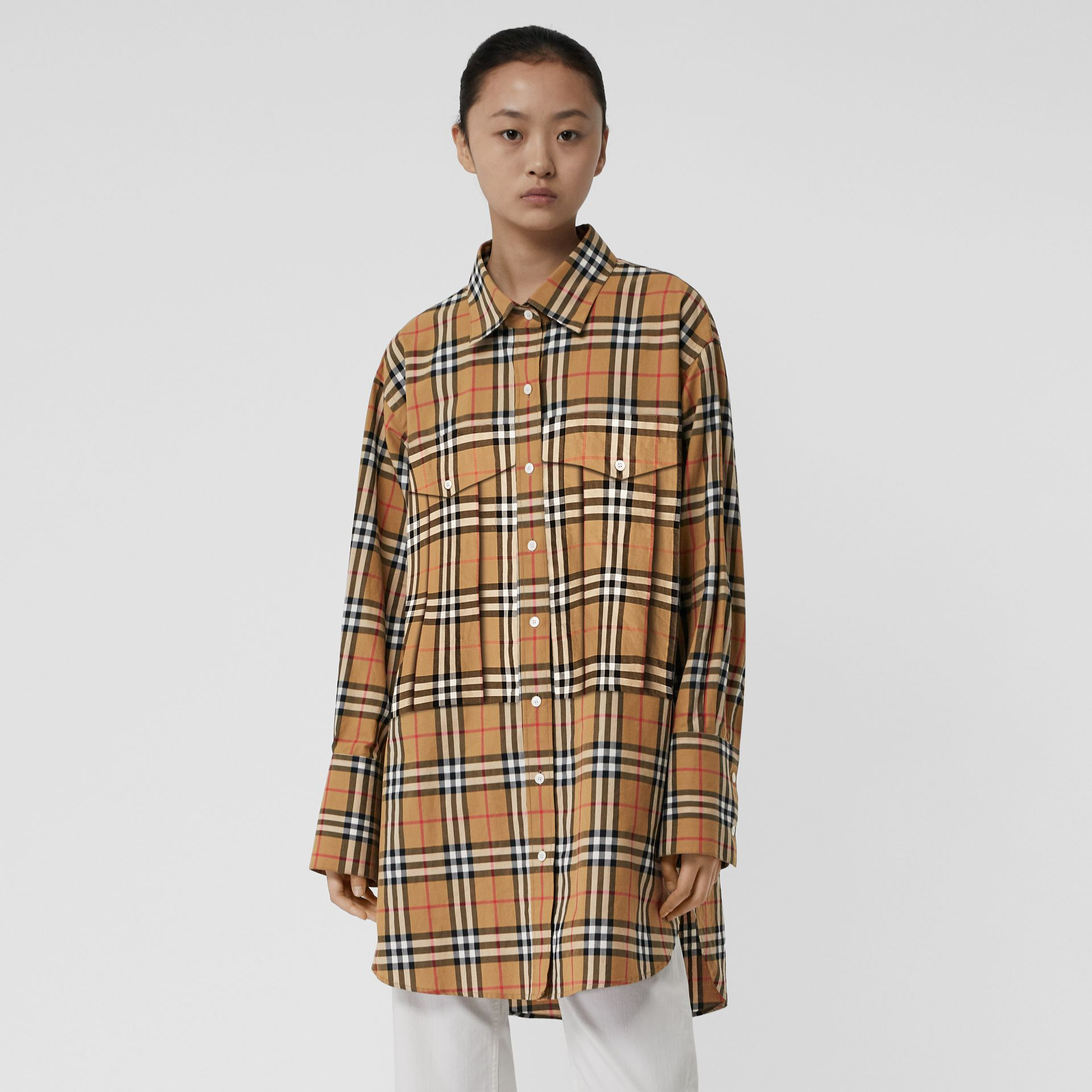 Vintage Check Cotton Oversized Shirt in Antique Yellow - Women | Burberry - gallery image 4