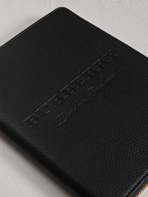 Embossed Leather Ziparound A5 Notebook Case in Black | Burberry - cell image 1
