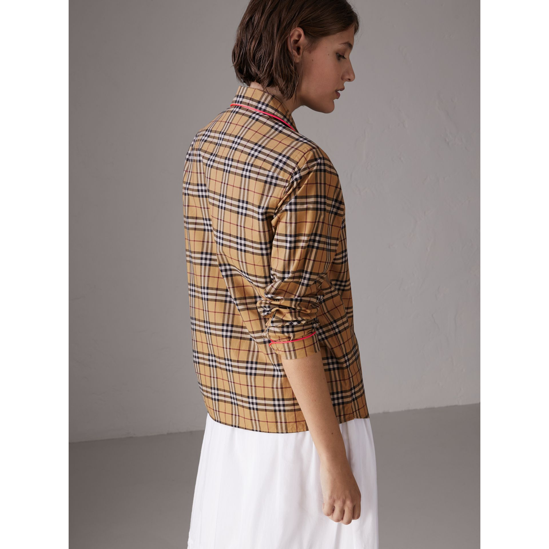 Contrast Piping Vintage Check Pyjama-style Shirt in Camel - Women | Burberry - gallery image 2