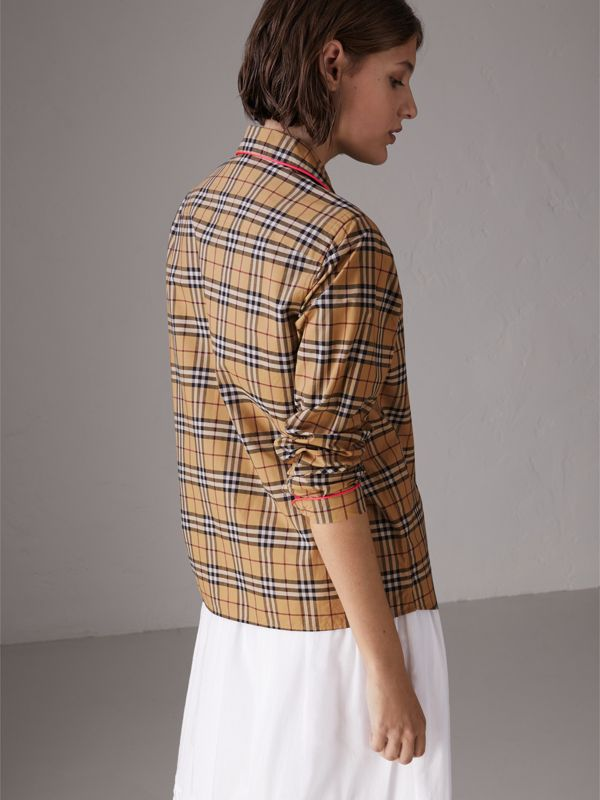Contrast Piping Vintage Check Pyjama-style Shirt in Camel - Women | Burberry - cell image 2