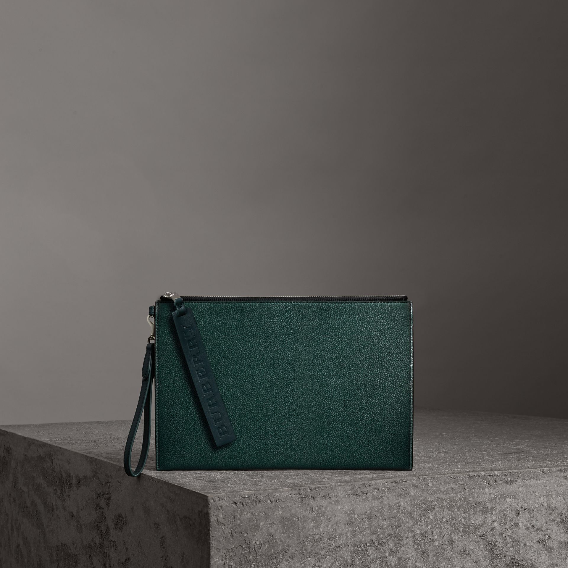 Grainy Leather Zip Pouch in Dark Cyan | Burberry Australia - gallery image 0