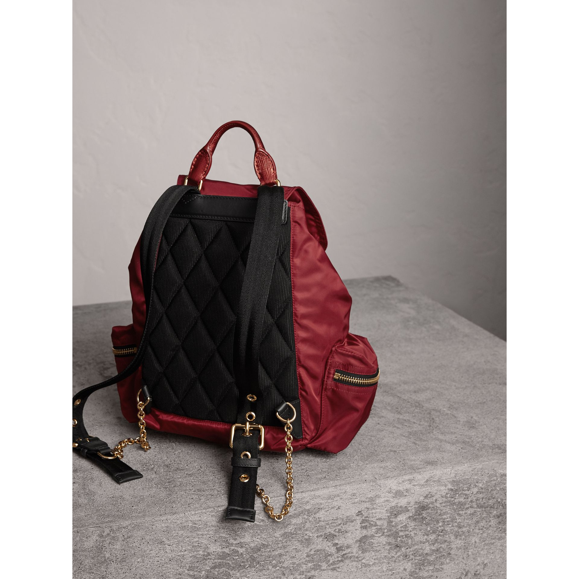 The Medium Rucksack in Technical Nylon and Leather in Crimson Red - Women | Burberry Singapore - gallery image 3