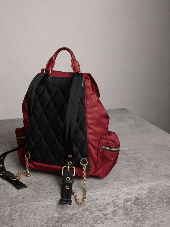 The Medium Rucksack in Technical Nylon and Leather in Crimson Red - Women | Burberry - cell image 2