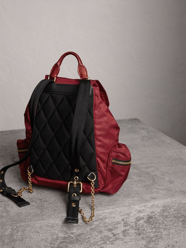 The Medium Rucksack in Technical Nylon and Leather in Crimson Red - Women | Burberry Singapore - cell image 3