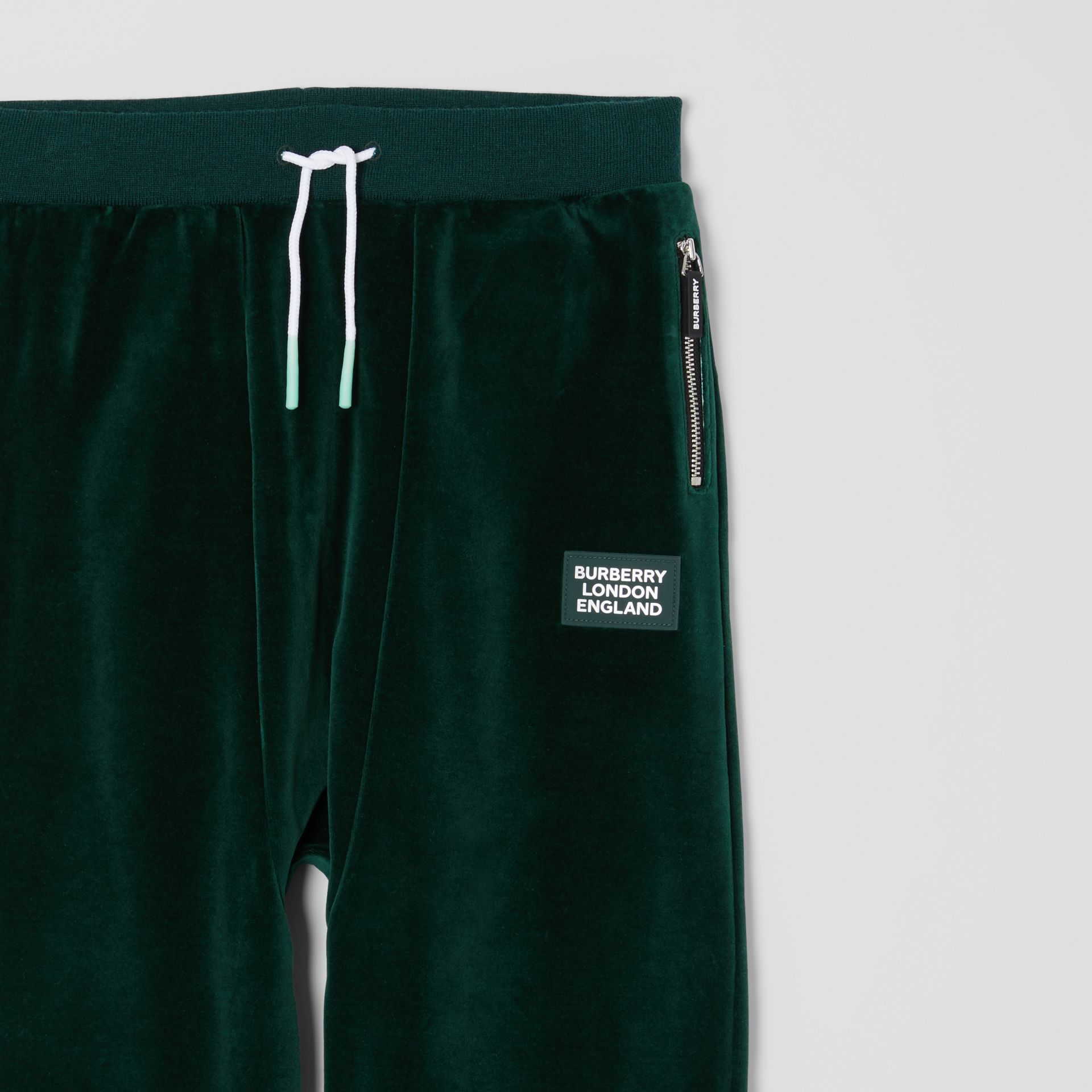 Stripe Trim Velour Trackpants in Dark Pine Green | Burberry United Kingdom - gallery image 4