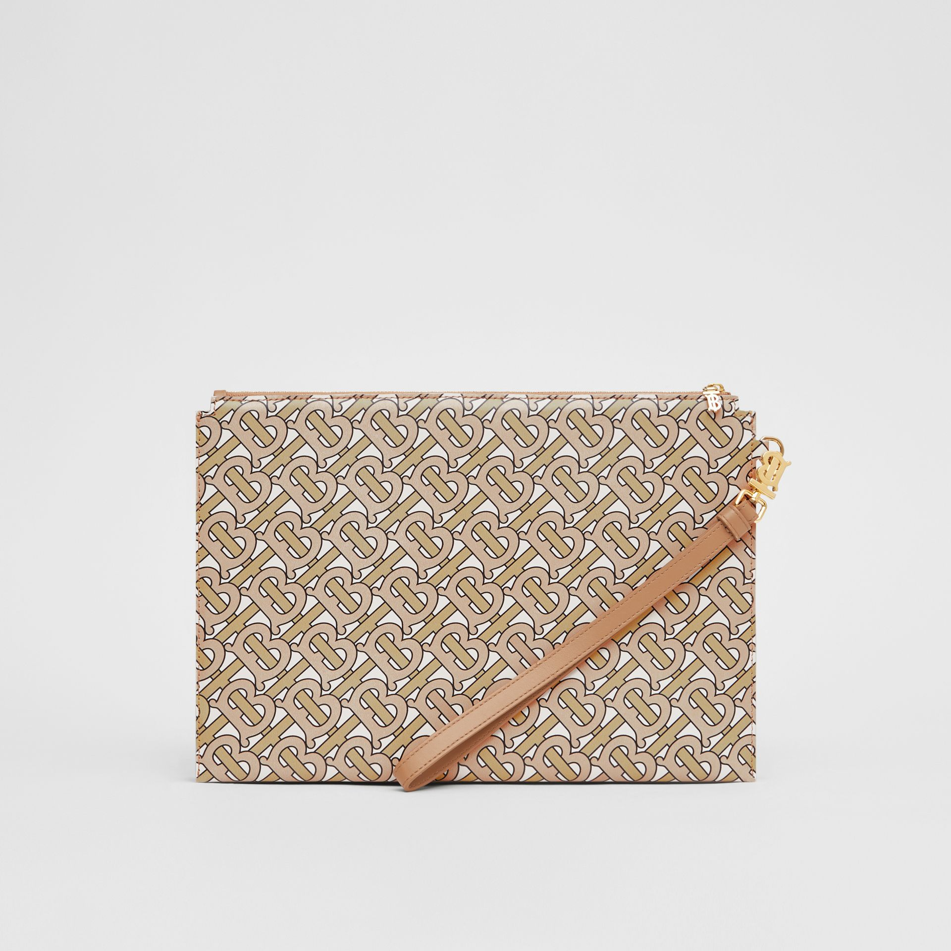 Monogram Print Leather Pouch in Beige - Women | Burberry Hong Kong S.A.R - gallery image 6