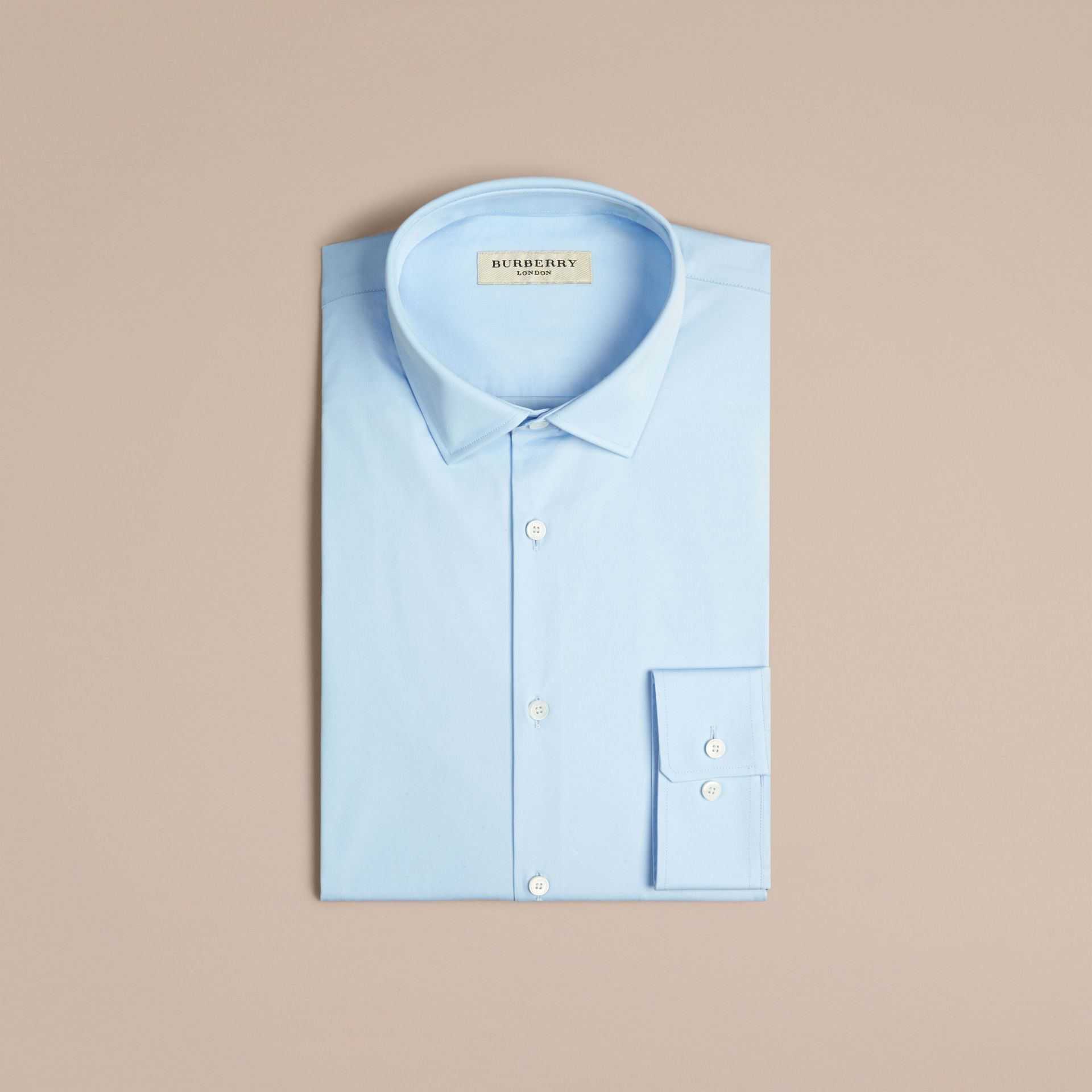 Modern Fit Stretch Cotton Shirt in City Blue - Men | Burberry Canada - gallery image 4