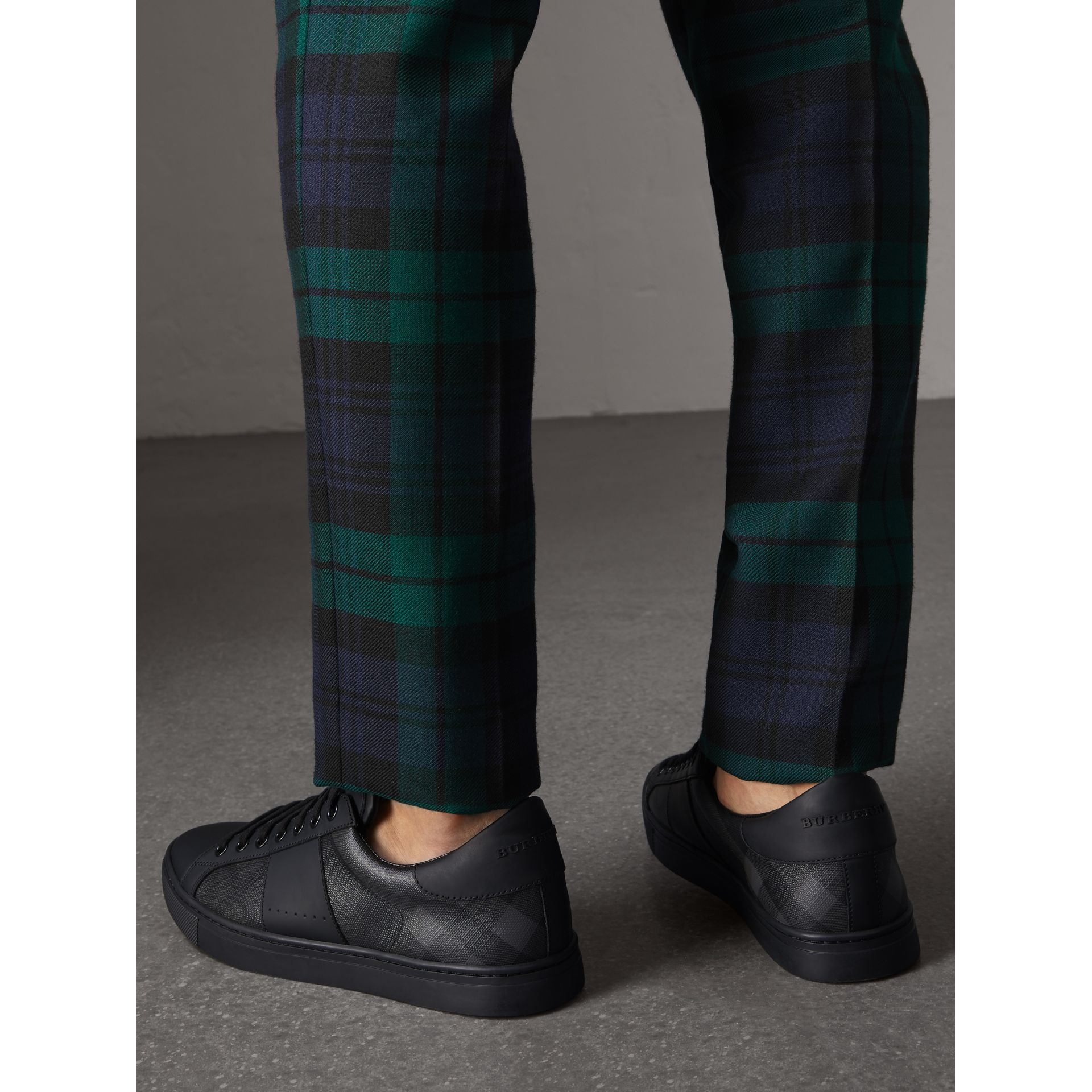 London Check and Leather Sneakers in Charcoal - Men | Burberry Canada - gallery image 2