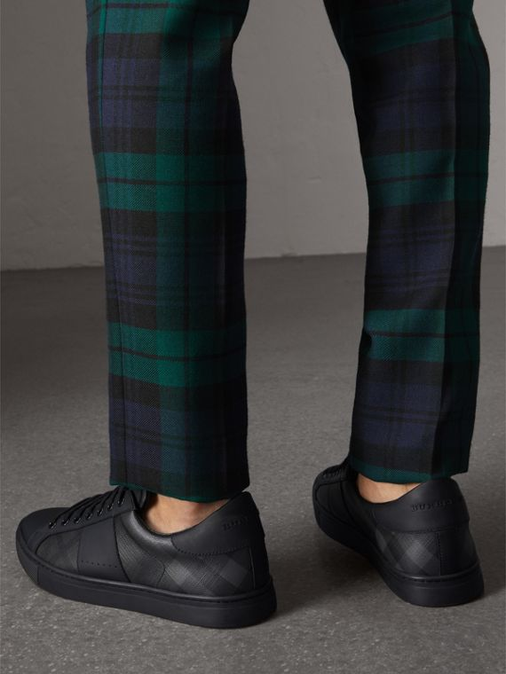 London Check and Leather Sneakers in Charcoal - Men | Burberry Canada - cell image 2