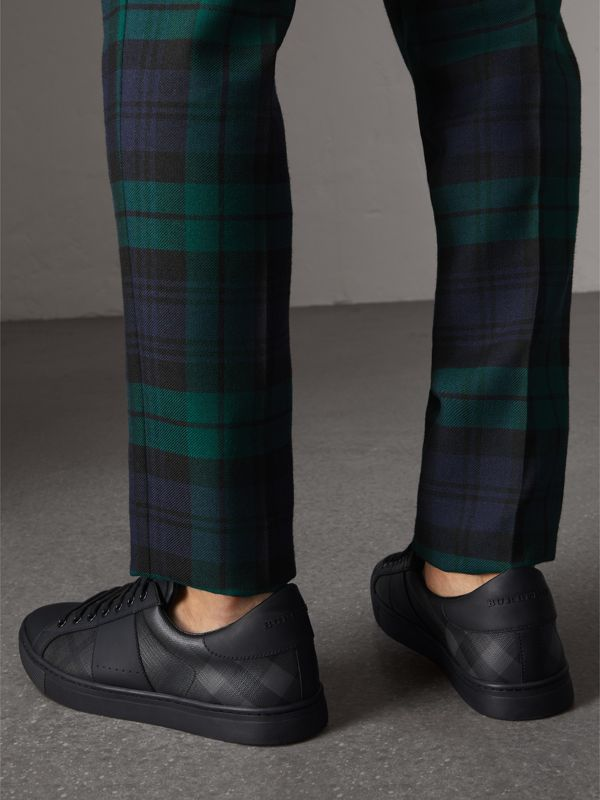 London Check and Leather Sneakers in Charcoal - Men | Burberry - cell image 2