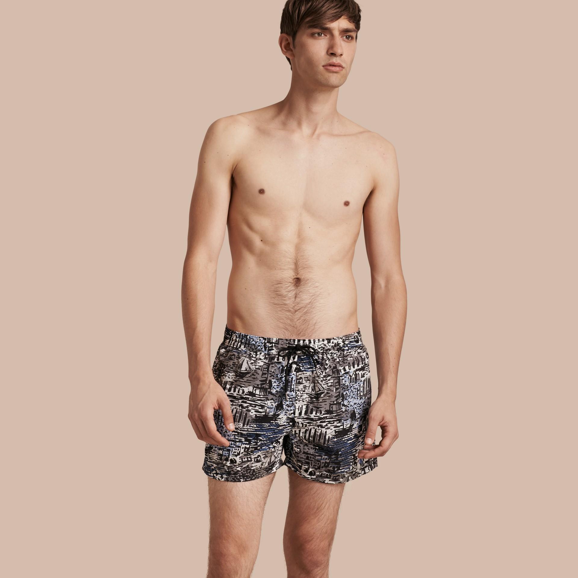 Lightweight British Seaside Print Swim Shorts - gallery image 1