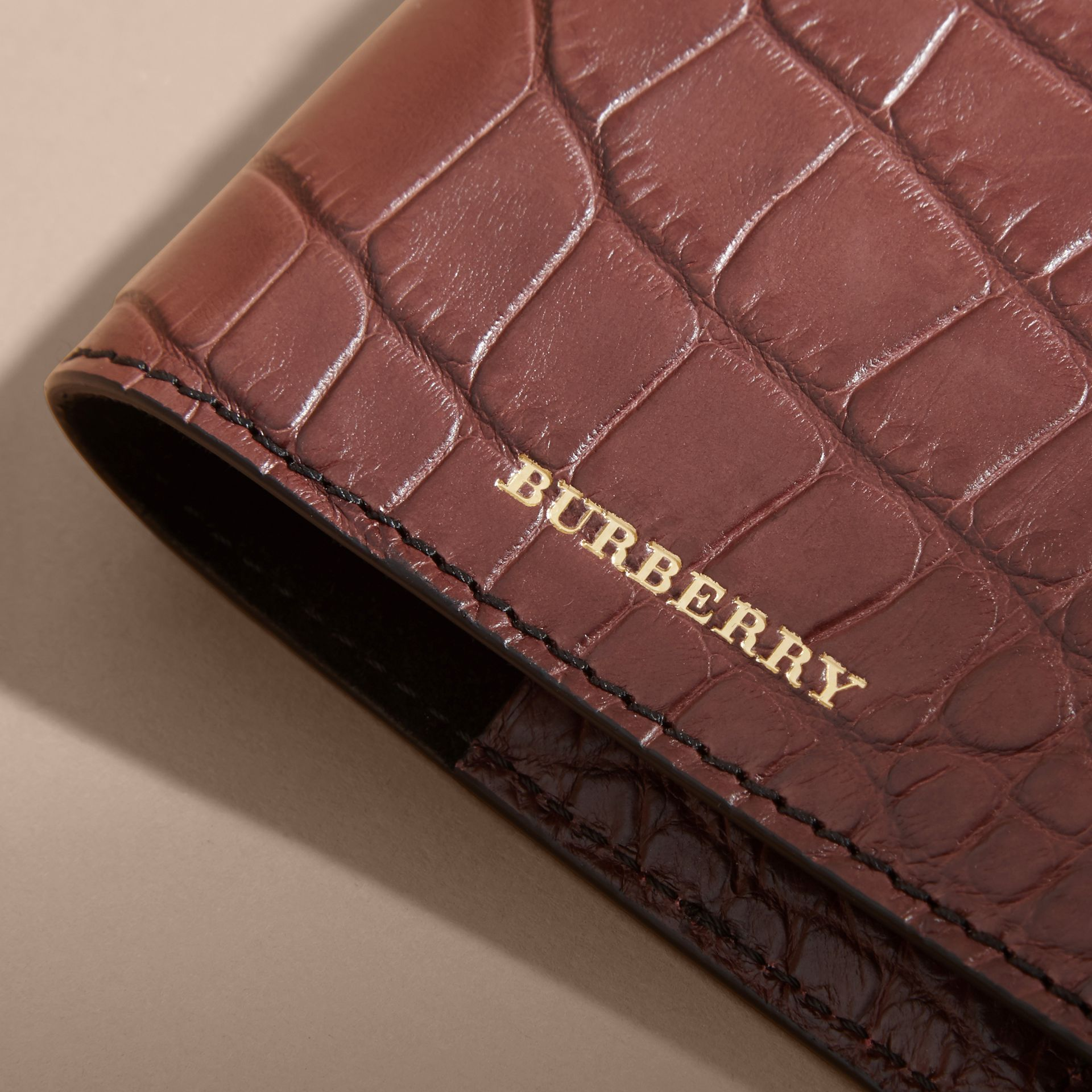 Alligator Passport Holder in Deep Claret | Burberry Australia - gallery image 2