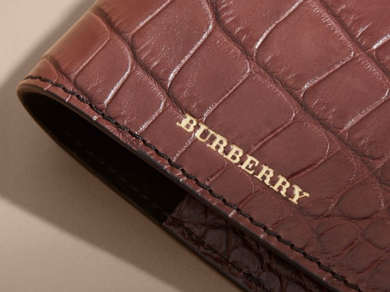 Alligator Passport Holder in Deep Claret | Burberry Australia - cell image 1