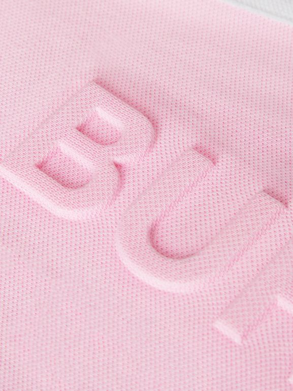 Embossed Logo Cotton Piqué Polo Dress in Pale Neon Pink | Burberry - cell image 1