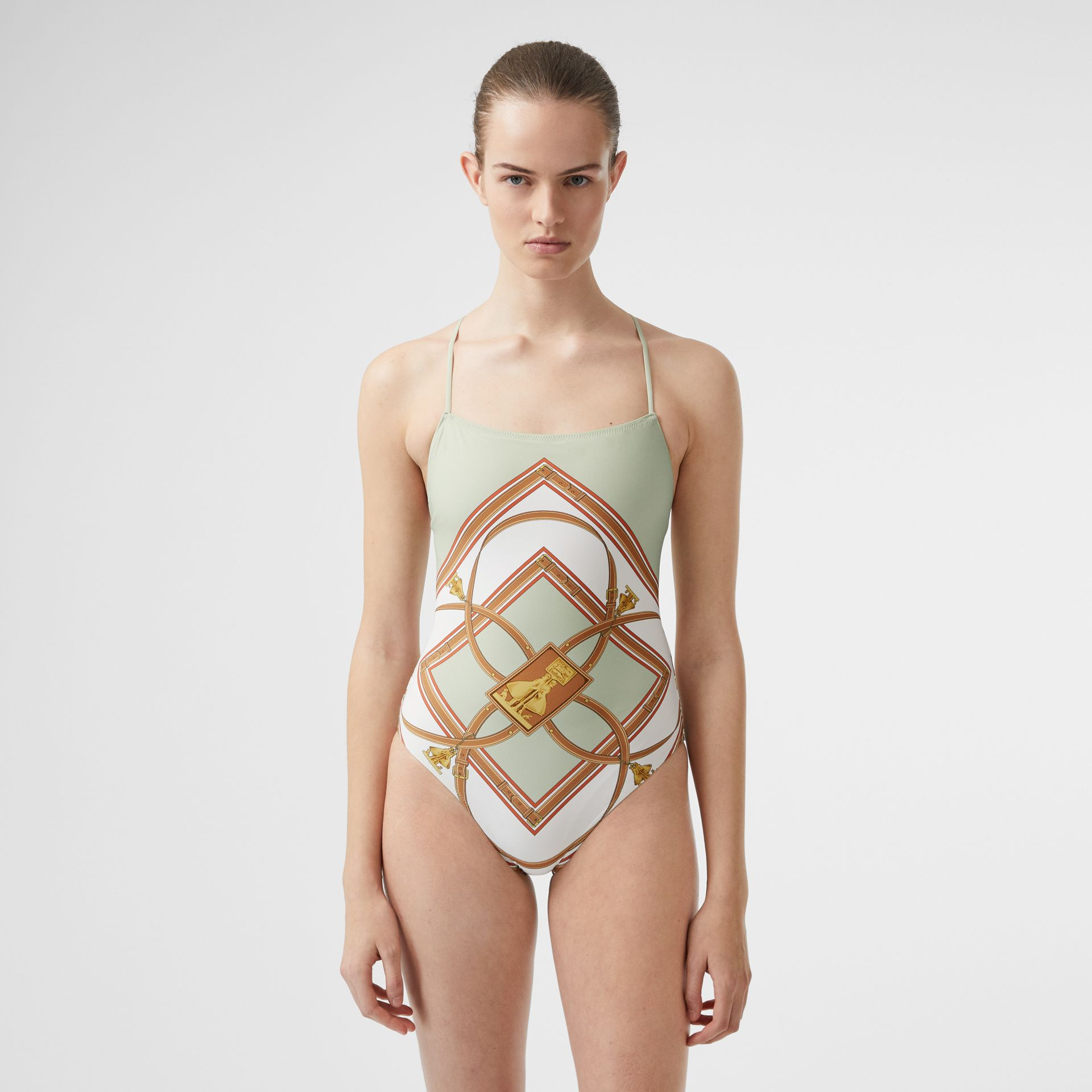 Archive Scarf Print Swimsuit in Stone Green - Women | Burberry - gallery image 0