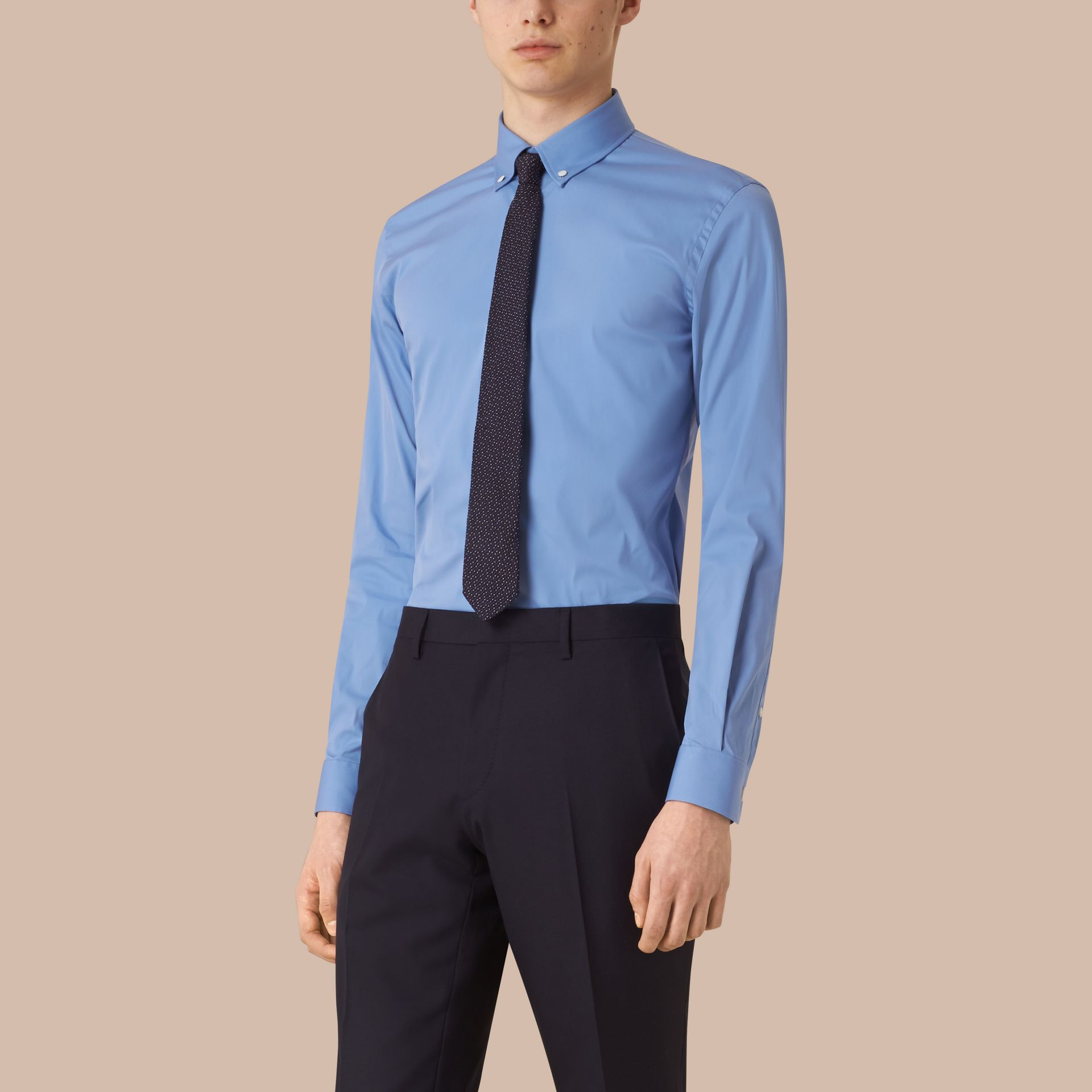 Mid blue Slim Fit Button-down Collar Stretch-cotton Shirt Mid Blue - gallery image 1