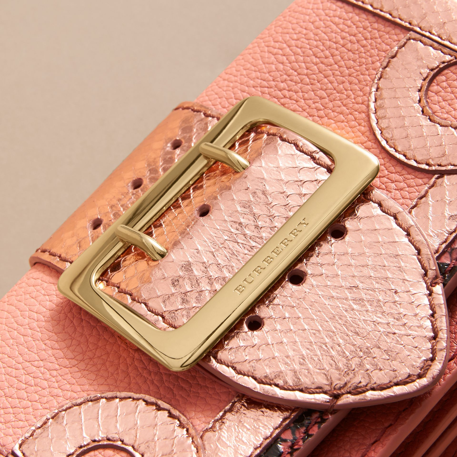 The Patchwork in Grainy Leather and Snakeskin in Pink - Women | Burberry - gallery image 2