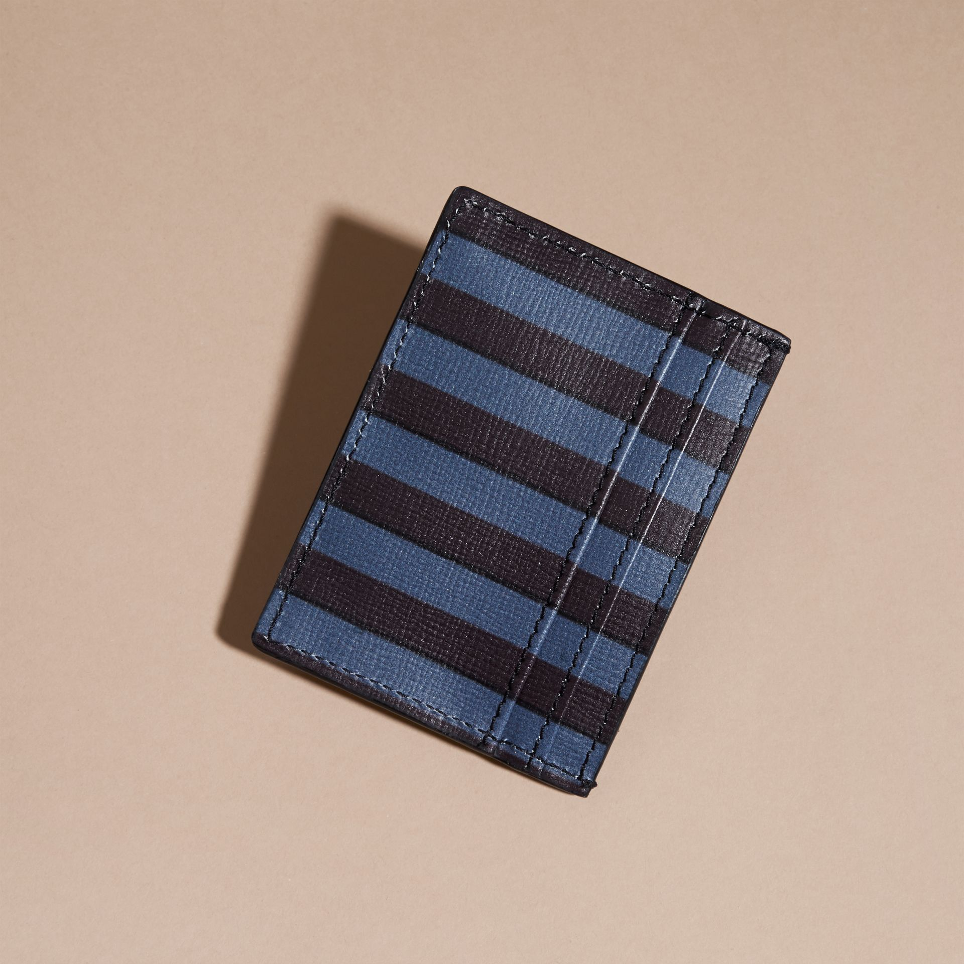 Navy Pyjama Stripe London Leather Card Case Navy - gallery image 4