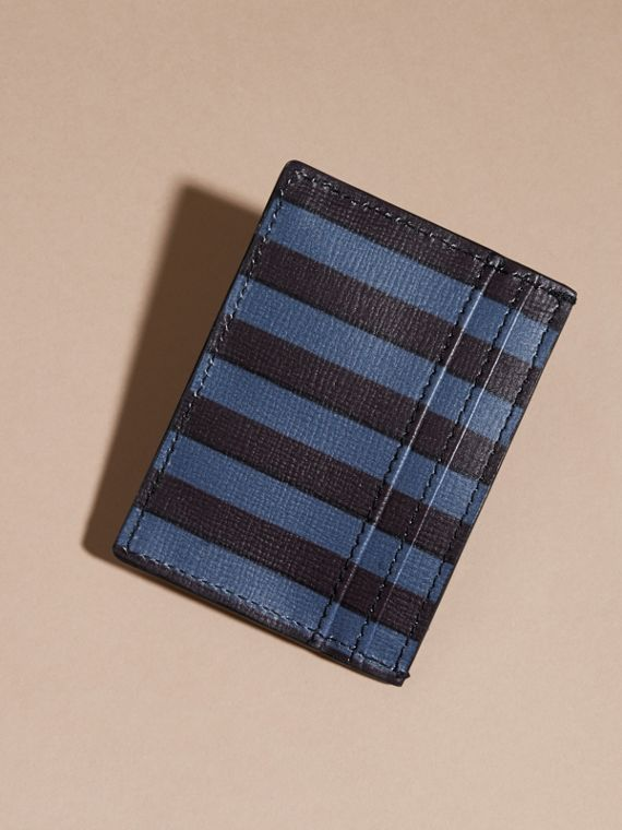 Navy Pyjama Stripe London Leather Card Case Navy - cell image 3