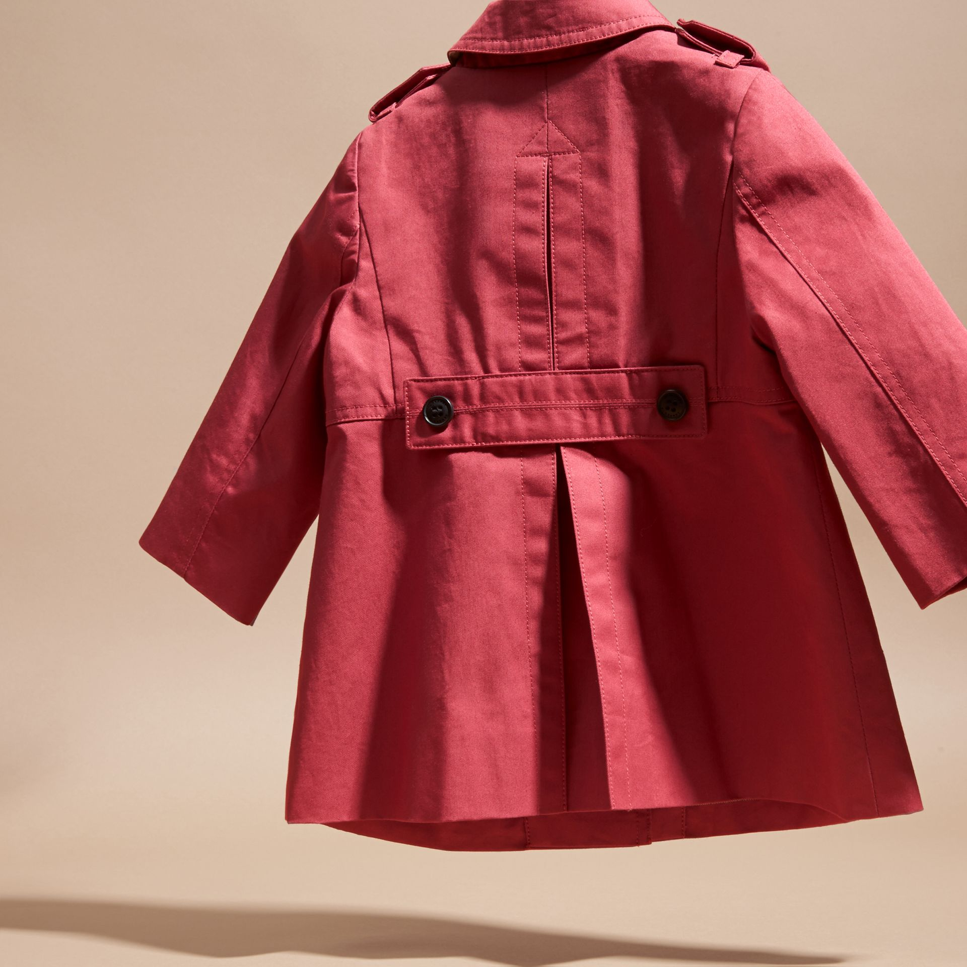 Peony rose Cotton Trench Coat - gallery image 4