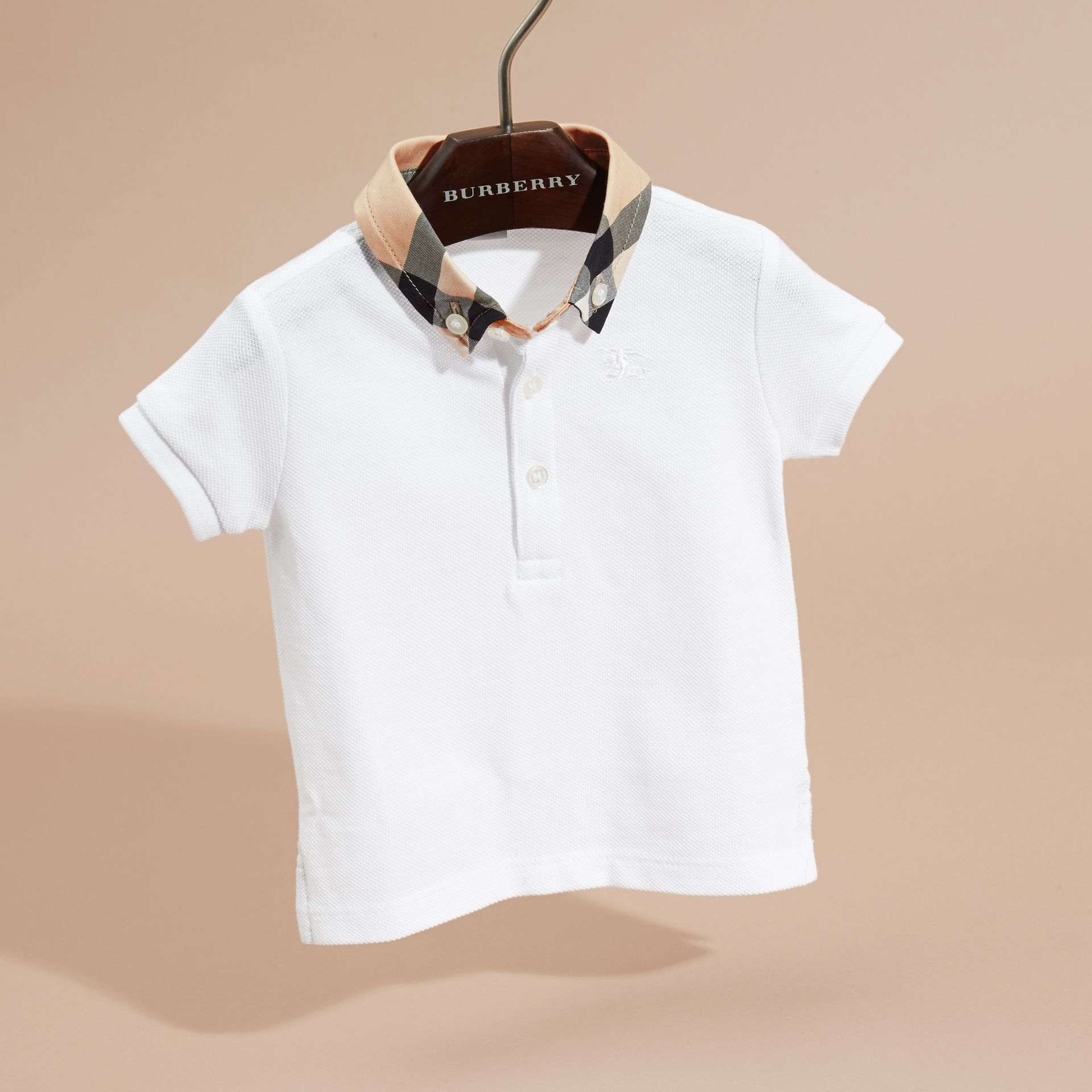 Check Collar Cotton Polo Shirt in White | Burberry - gallery image 3