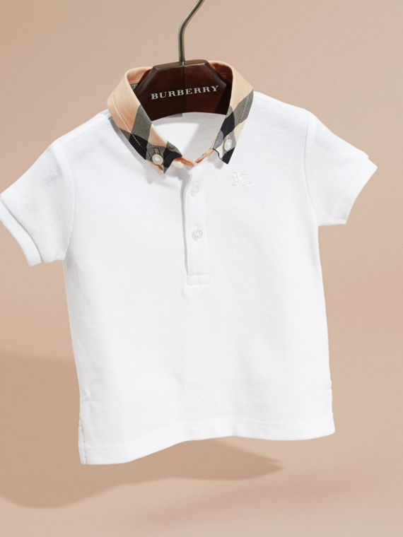Check Collar Cotton Polo Shirt in White | Burberry - cell image 2