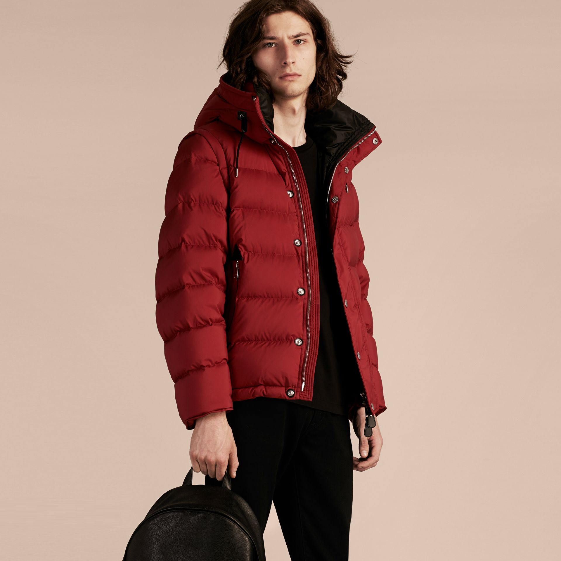 Parade red Down-filled Hooded Jacket with Detachable Sleeves Parade Red - gallery image 7
