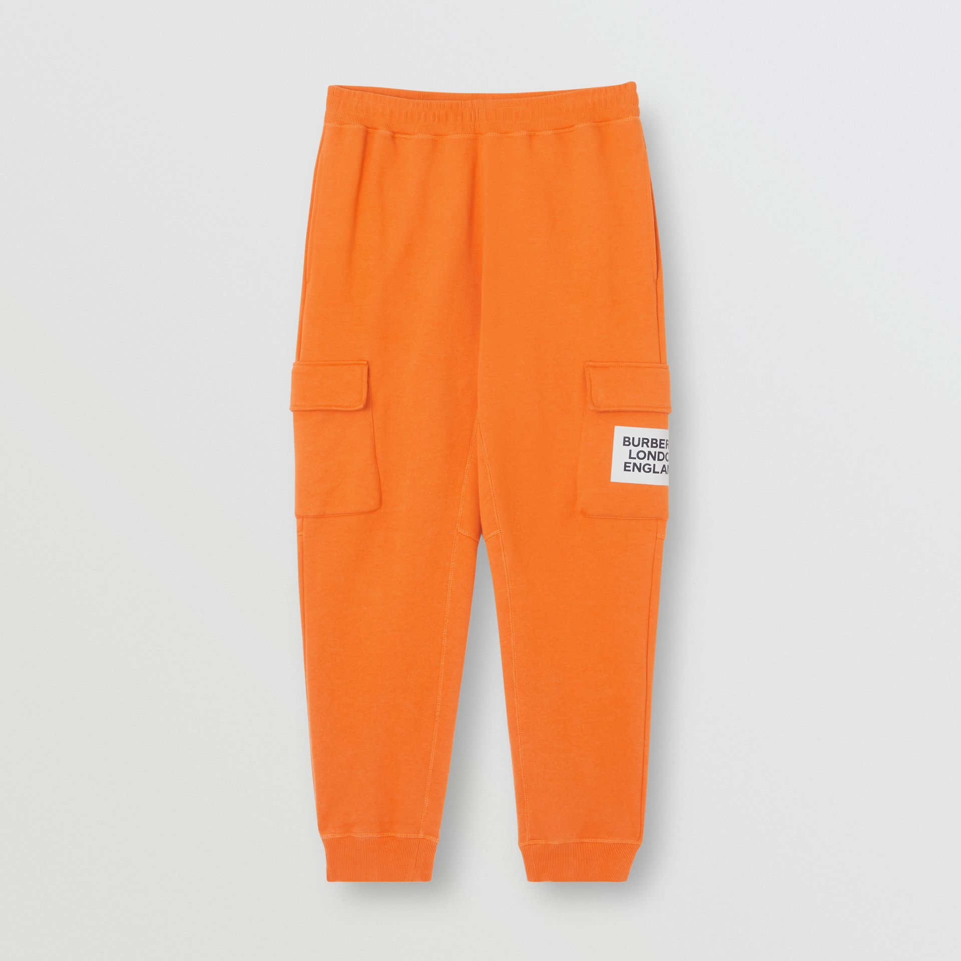 Logo Print Cotton Trackpants in Bright Orange - Men | Burberry United Kingdom - gallery image 3