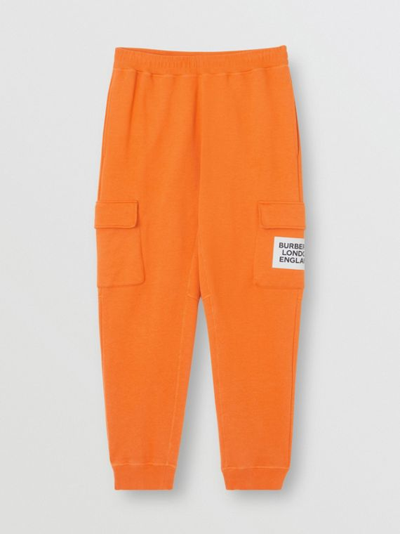 Logo Print Cotton Trackpants in Bright Orange