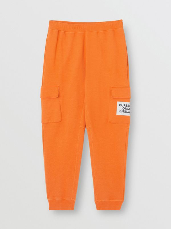 Logo Print Cotton Trackpants in Bright Orange - Men | Burberry United Kingdom - cell image 3