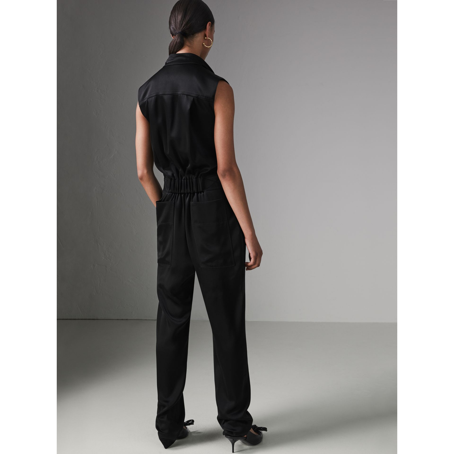 Sleeveless Satin Zip-front Jumpsuit in Black - Women | Burberry - gallery image 2