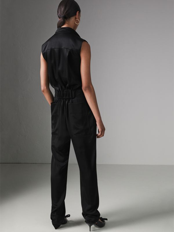 Sleeveless Satin Zip-front Jumpsuit in Black - Women | Burberry - cell image 2