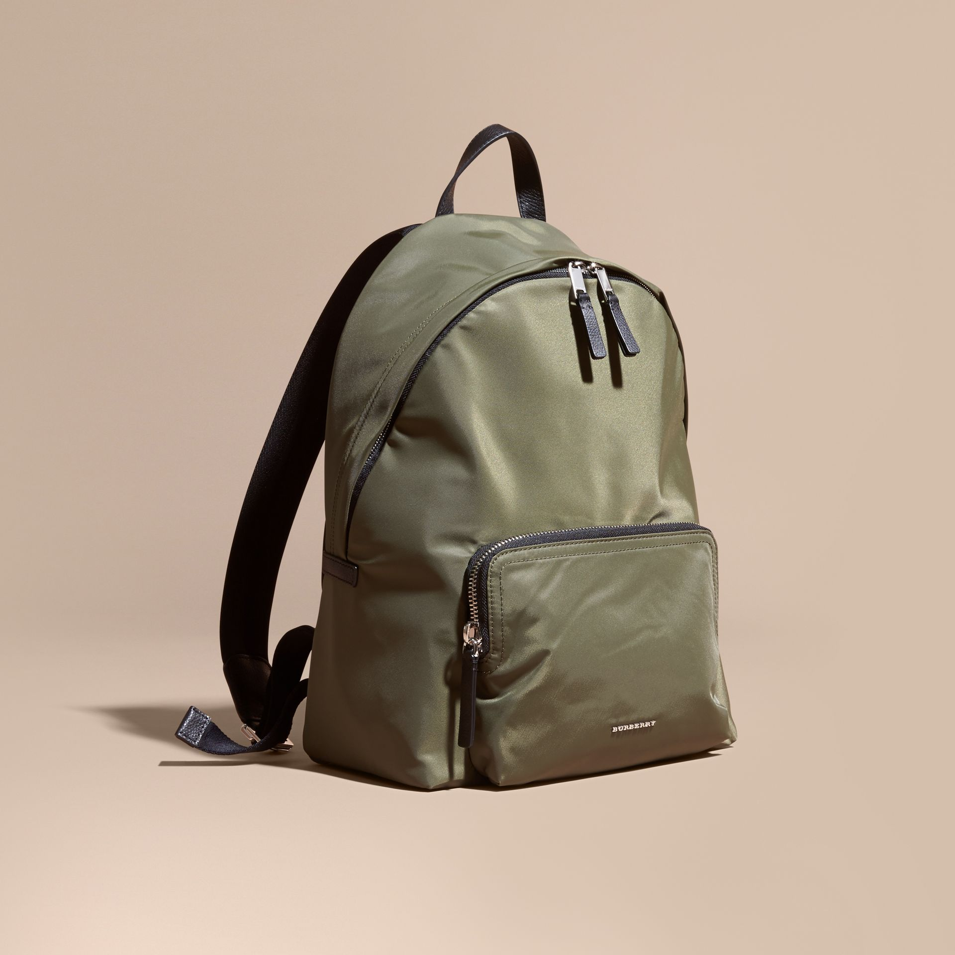 Canvas green Leather Trim Nylon Backpack Canvas Green - gallery image 1