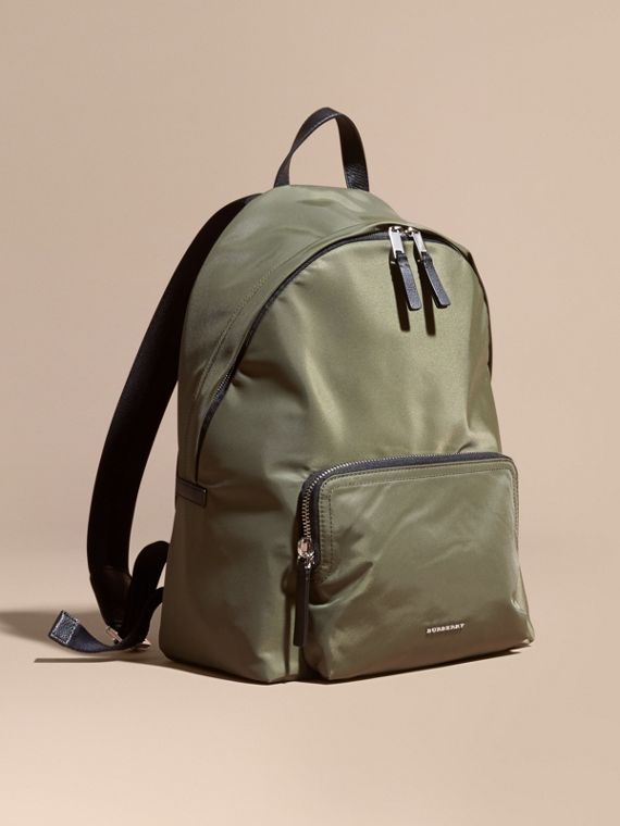 Leather Trim Nylon Backpack Canvas Green