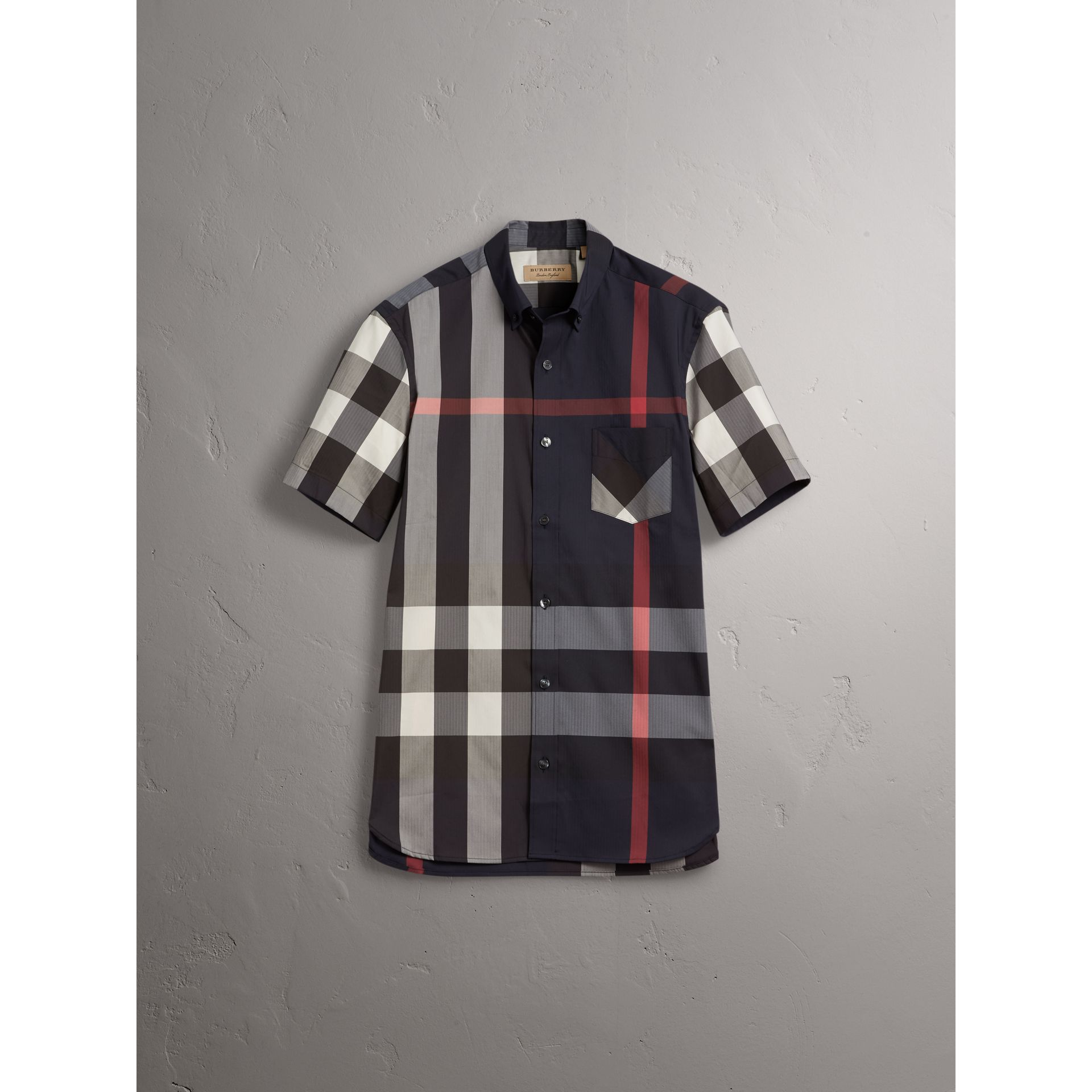 Short-sleeve Check Stretch Cotton Blend Shirt in Navy - Men | Burberry - gallery image 3