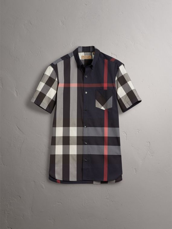 Short-sleeve Check Stretch Cotton Blend Shirt in Navy - Men | Burberry - cell image 3