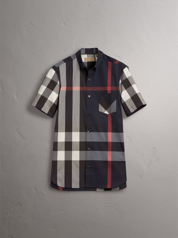 Short-sleeve Check Stretch Cotton Blend Shirt in Navy - Men | Burberry Australia - cell image 3