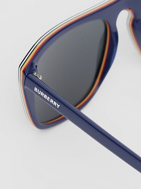 Icon Stripe Detail Square Frame Sunglasses in Blue - Men | Burberry Australia - cell image 1
