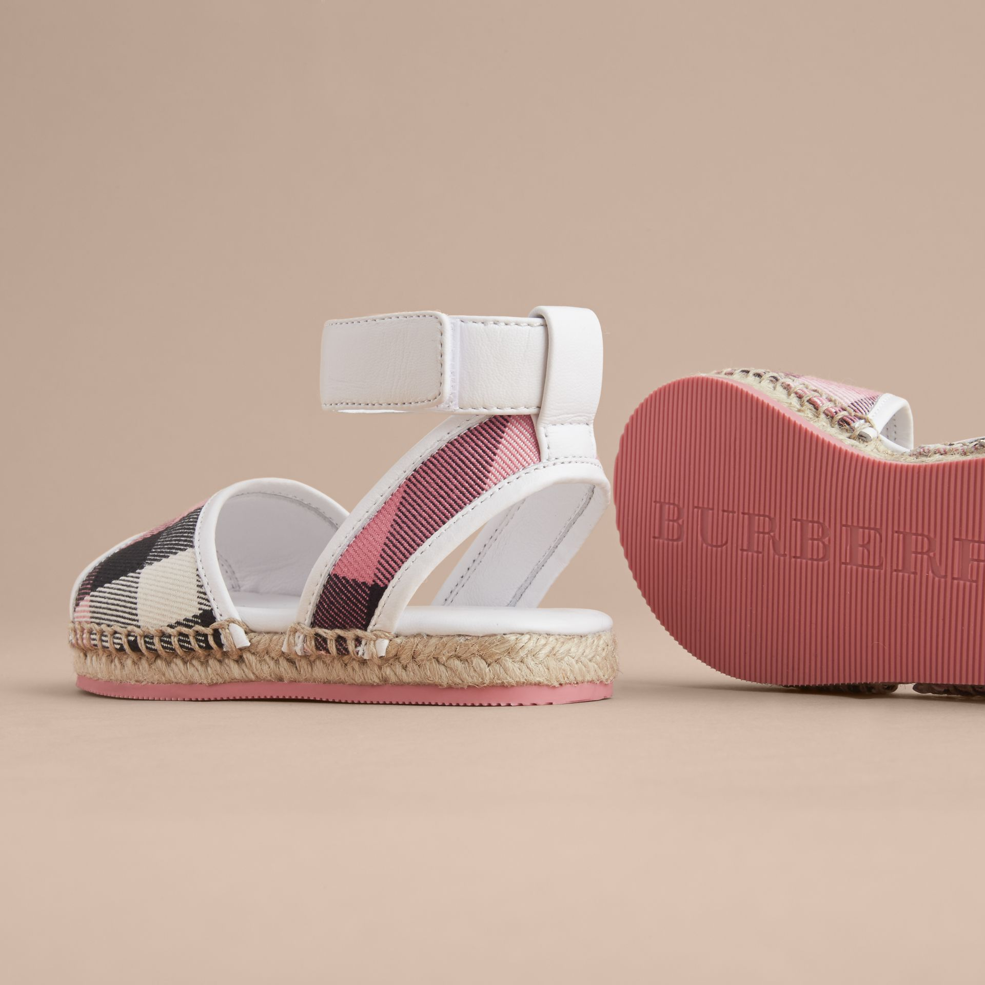 Leather Ankle Strap and House Check Espadrille Sandals in Rose Pink - Children | Burberry - gallery image 4