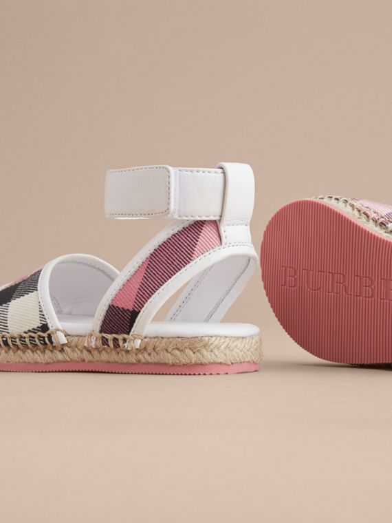 Leather Ankle Strap and House Check Espadrille Sandals in Rose Pink - Children | Burberry - cell image 3