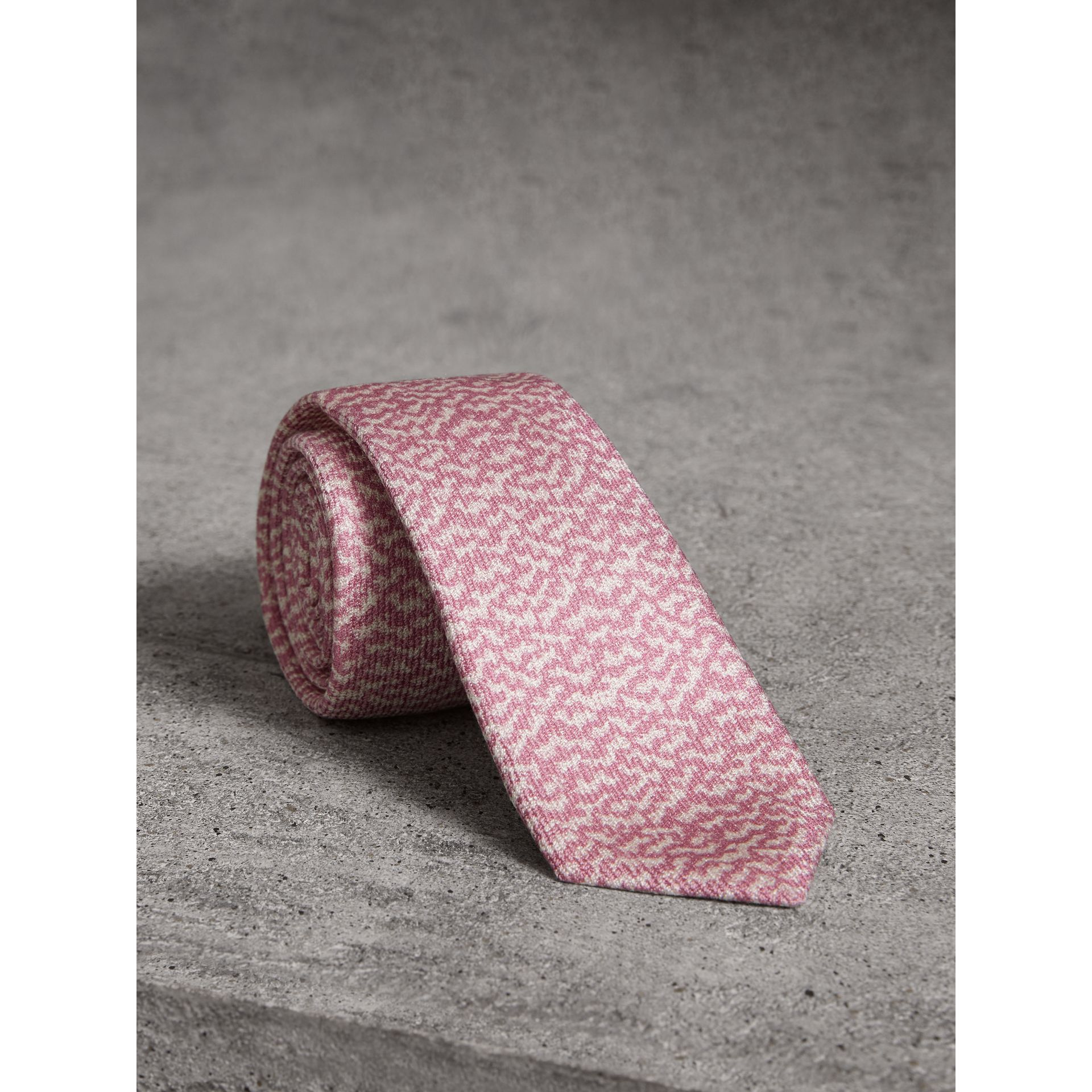 Slim Cut Ripple Print Silk Tie in Pink Azalea - Men | Burberry - gallery image 0