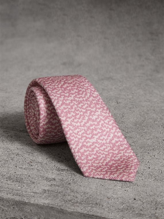 Slim Cut Ripple Print Silk Tie in Pink Azalea