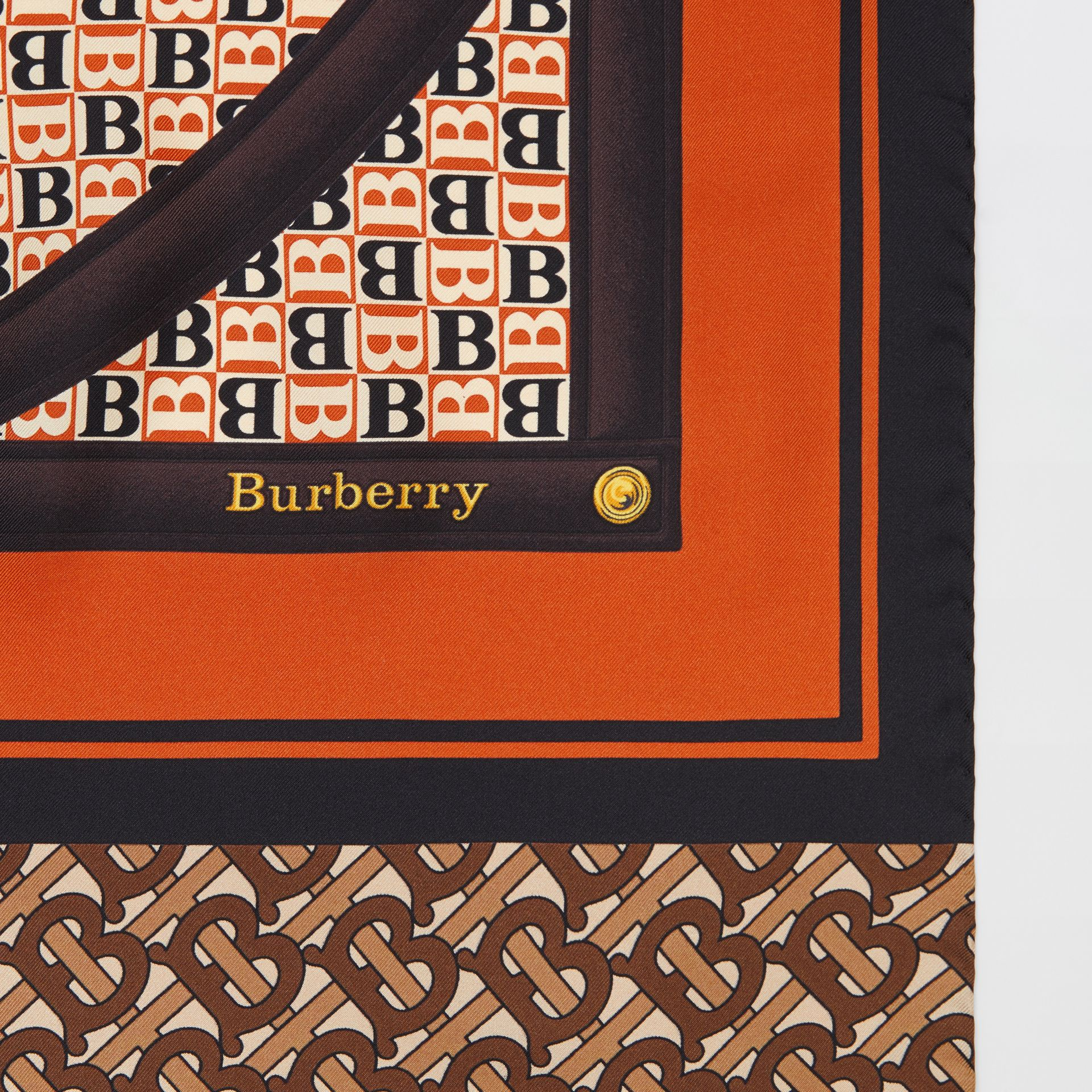 Montage Print Silk Scarf in Bridle Brown | Burberry - gallery image 1