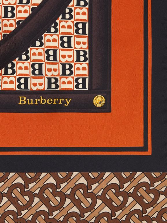 Montage Print Silk Scarf in Bridle Brown | Burberry - cell image 1