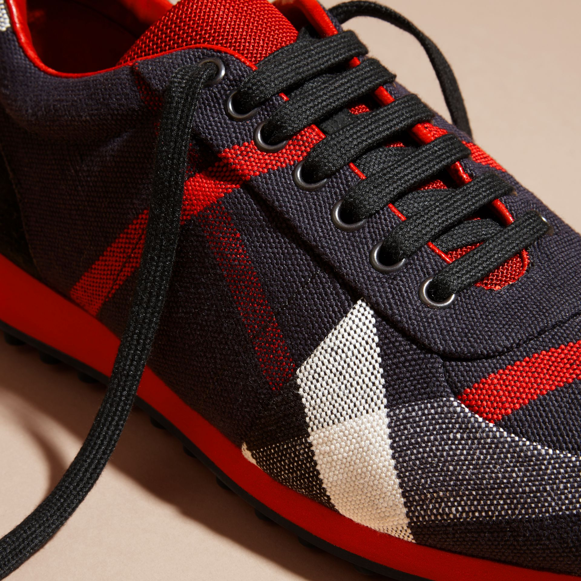 Navy/militay red Textural Trim Canvas Check Sneakers Navy/militay Red - gallery image 2