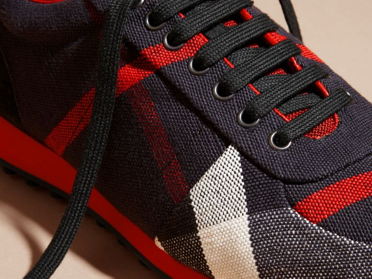 Navy/militay red Textural Trim Canvas Check Sneakers Navy/militay Red - cell image 1