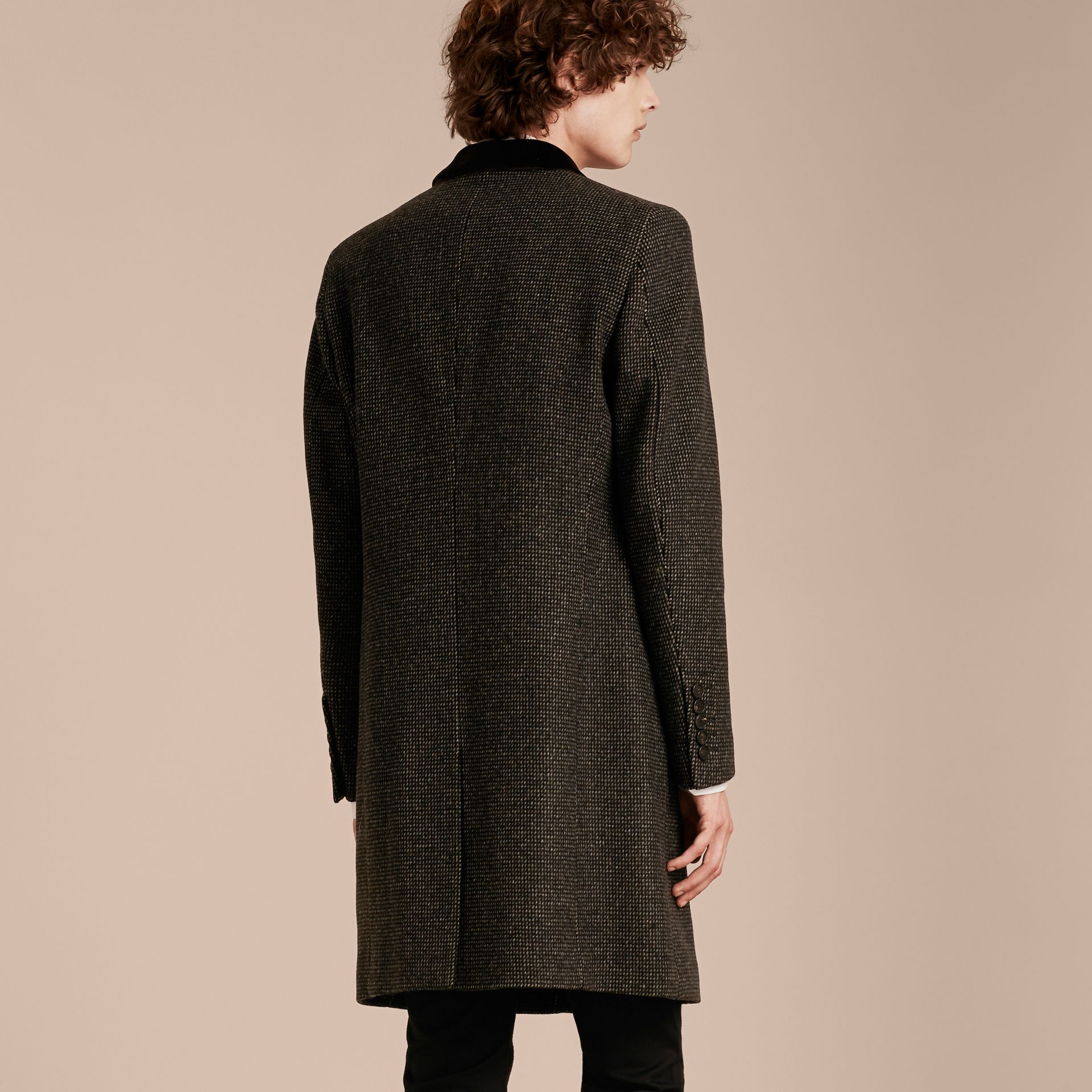 Mid camel Velvet Collar Tailored Wool Blend Coat - gallery image 3